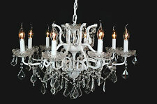 French Style 8 Arm Branch White Shallow Cut Glass Chandelier