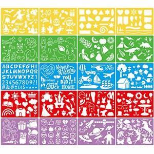 20 Pcs Drawing Stencils Set for Kids GIft Kit 300+ Patterns DrawingTemplates new