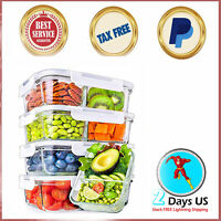 PERFECT Glass Meal Prep Containers 2 Compartment with Lids 5 Pack FREE SHIPPING