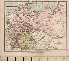 c1880 VICTORIAN MAP ~ THE GERMAN EMPIRE ~ WITH PRUSSIA