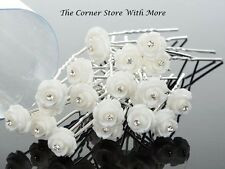 10 White Floral Hair Pins for Wedding Deb Bridal Flowergirl Bridesmaid Debutante