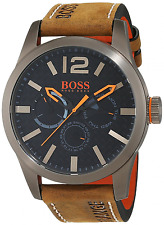 BOSS Orange Herren-Armbanduhr PARIS Multieye Analog Quarz Leder Braun 1513240