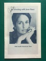 JOAN BAEZ Autographed 1984 North American Tour Signed Concert Booklet Program