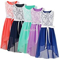 Girl Sleeveless Lace Chiffon Summer Party Dress Kids Princess Wedding Bridesmaid