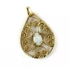 Vintage Opal Teardrop Necklace Pendant Gold Tone Heart Design Setting