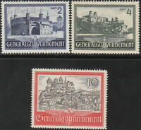 Stamp Germany Poland General Gov't Mi 063-65 Sc N73-5 1941 WWII Castle MNH