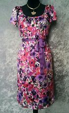 DIANA FERRARI Dress - Vintage Style Pencil Pink Purple Floral Print Tie Belt - 6