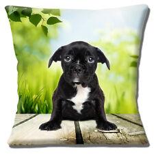 "NEW CUTE BRINDLE BLACK WHITE FRENCH BULLDOG PUPPY 16"" Pillow Cushion Cover"