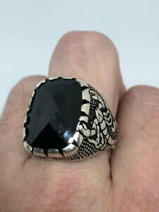 925 Sterling Silver Genuine Black Cushion Cut Onyx Scorpion Men's Solitaire Ring