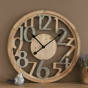 Clock Industrial Scandi Rustic Floating Wall Hanging Timber Metal Decor 60CM new