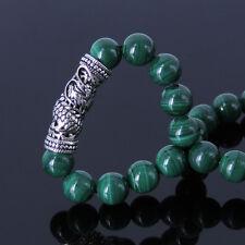 Handmade Gemstone Bracelet Malachite 925 Sterling Silver Dragon Charm MEN WOMEN