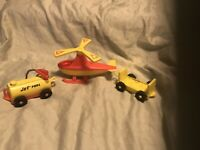 Lot Of 3 Fisher Price Little People Helecopter Jet Fuel And Luggage Cart