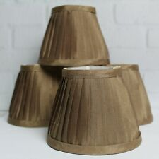 Set of 4 Chandelier Lamp Shades Bronze Cream Interior Silk Clip On 5""