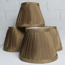 """Set of 4 Chandelier Lamp Shades Bronze Cream Interior Silk Clip On 5"""""""