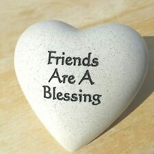 """Heavy Tan Colored Heart Paperweight, """"Friends Are A Blessing"""""""