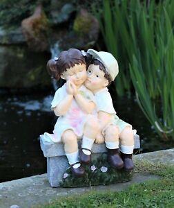 Garden Ornament Large Cherub Ceramic Figure Statue antique little Girl & Boy