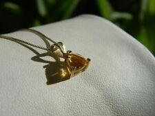"Trillion Cut Citrine 14k Gold 18"" Necklace on Box Chain"