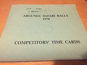 1974 ARGUNGU SAFARI RALLY COMPETITORS TIME CARDS CAR 23 EX JIM PORTER