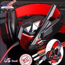 Gaming Headset Headband Headphone 3.5mm LED With Mic Surround Stereo For PC RD