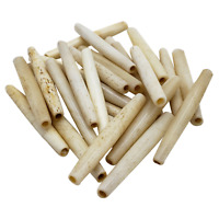 "50 Pc Buffalo Bone Beads Tube Hair Pipe Choker Beads 2"" Antique"