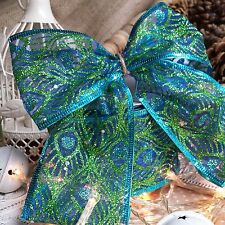 Wired Glitter Peacock Feather Ribbon, 63mm, Green Blue, Christmas Gift Bow Cake