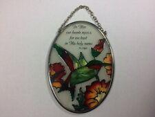 Joan Baker Hand painted art glass Suncatcher  HummingbirdIn Him Our Hearts