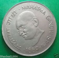 India 1969 MAHATMA GANDHI Rupee one 1 - Nickel BIG size rare Commemorative coin