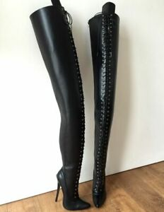 Sexy Pointed Toe Lace Up Over Knee Thigh Gothic Punk Drag Queen Boots Plus Size