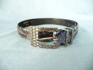 "CARLISLE Belt XS Genuine Leather 1"" Blue Snake Skin Embossed Silver Buckle 1Worn"