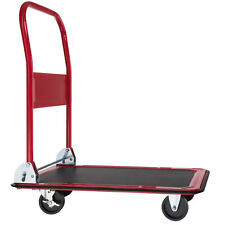 More details for folding trolley platform trolley, transport trolley with brakes red 150 kg