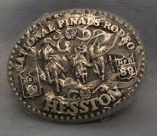 New Vintage Hesston 1989 NFR National Finals Rodeo Belt Buckle Grey Color Child