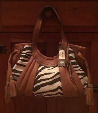 Fossil Fifty Four Leather Handbag Purse NWT  Zebra Print Hobo $225