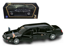 2001 Cadillac Deville Presidential Limousine Black with Flags 1/24 Model