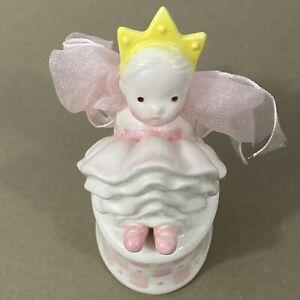 Princess Stuff Small Trinket Box 1999 Mud Pie porcelain & ribbon tooth fairy etc