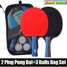 2 Professional Table Tennis Racket Paddle Ping Pong Bat+ 3 Balls Bag Set Sport