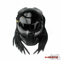NEW Black Predator Helmet Mask Carbon Fibre Motorcycle Iron Man Full Face Helmet