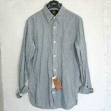 RRL RALPH LAUREN $195 chambray cotton blue cream stripe button front shirt S NEW