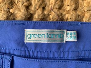 New green lamb ladies blue golf 16 tech cropped trousers with streach