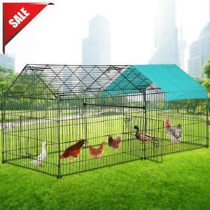Chicken Coop, Large Metal Walk-in Poultry Cage Kennel with Waterproof Run