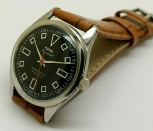 hmt pilot hand winding mem's steel black dial vintage india watch working