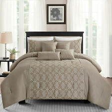 7Pcs Embroidery King Bed in a Bag Comforter Set Sheets Bedding Bedspread,Taupe