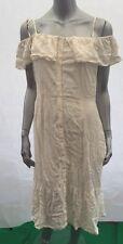Vero Moda Jade Ruffle Cami Dress Off Shoulder Cream Button Front UK L 14 BX16