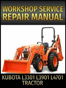 Kubota L3301 L3901 L4701 Tractor Service Repair Manual on CD