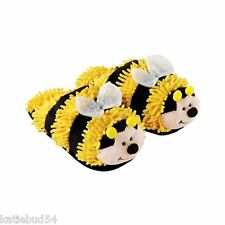 KIDS ONE SIZE Fuzzy Yellow Black Bumble Bee Slipper Clog up to Childs size 3