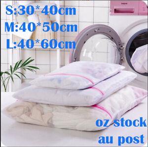 Laundry Wash Bag 3 sizes Washing Aid Zipper Mesh Clothes Bra Socks Delicate
