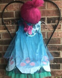 Trolls Poppy Costume Blue Green Tulle Dress Pink Wig Just Play Girl 4-6X