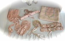 Gorgeous Antique 1920 Spectacular RIBBON WORK 7 Piece LOT Garters,Baby,Lingerie