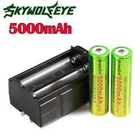 2PC 3.7V 5000mAh Li-ion 18650 Rechargeable Battery +Charger For Torch Flashlight
