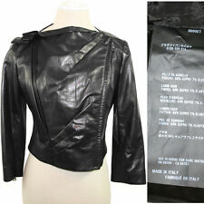 sz M NEW $3970 PRADA Black LEATHER Cropped Motorcycle FITTED JACKET Made ITALY