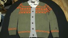 LINDBERGH 6 BUTTON ARMY GREEN ORANGE BEIGE AND GRAY WOOL BLEND SWEATER SIZE XL
